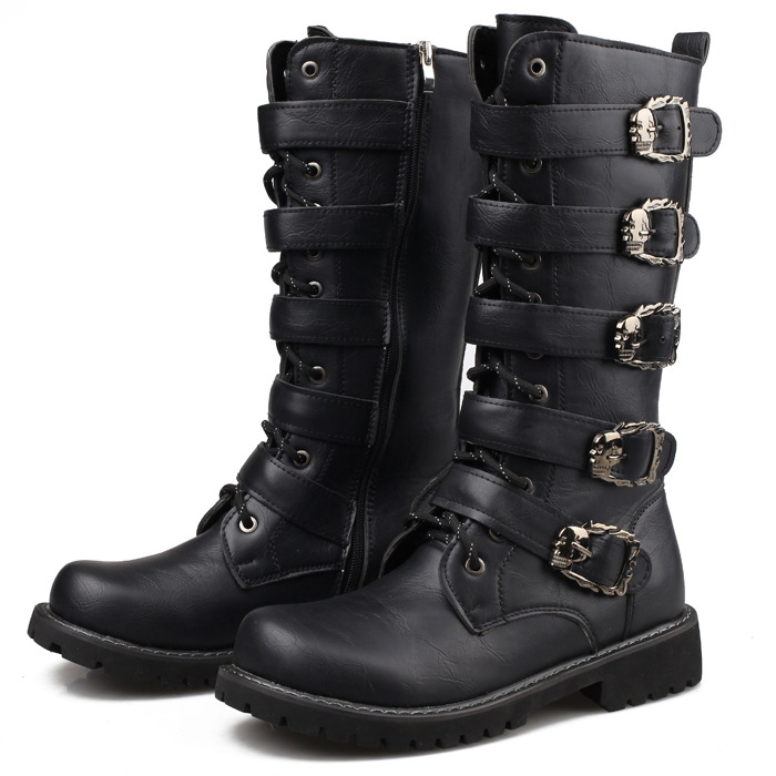 все цены на British Men Black Retro Combat Boots Belt Buckle Punk Martin Motorcycle Boots Leather Military Boots Autumn Men High top Shoes