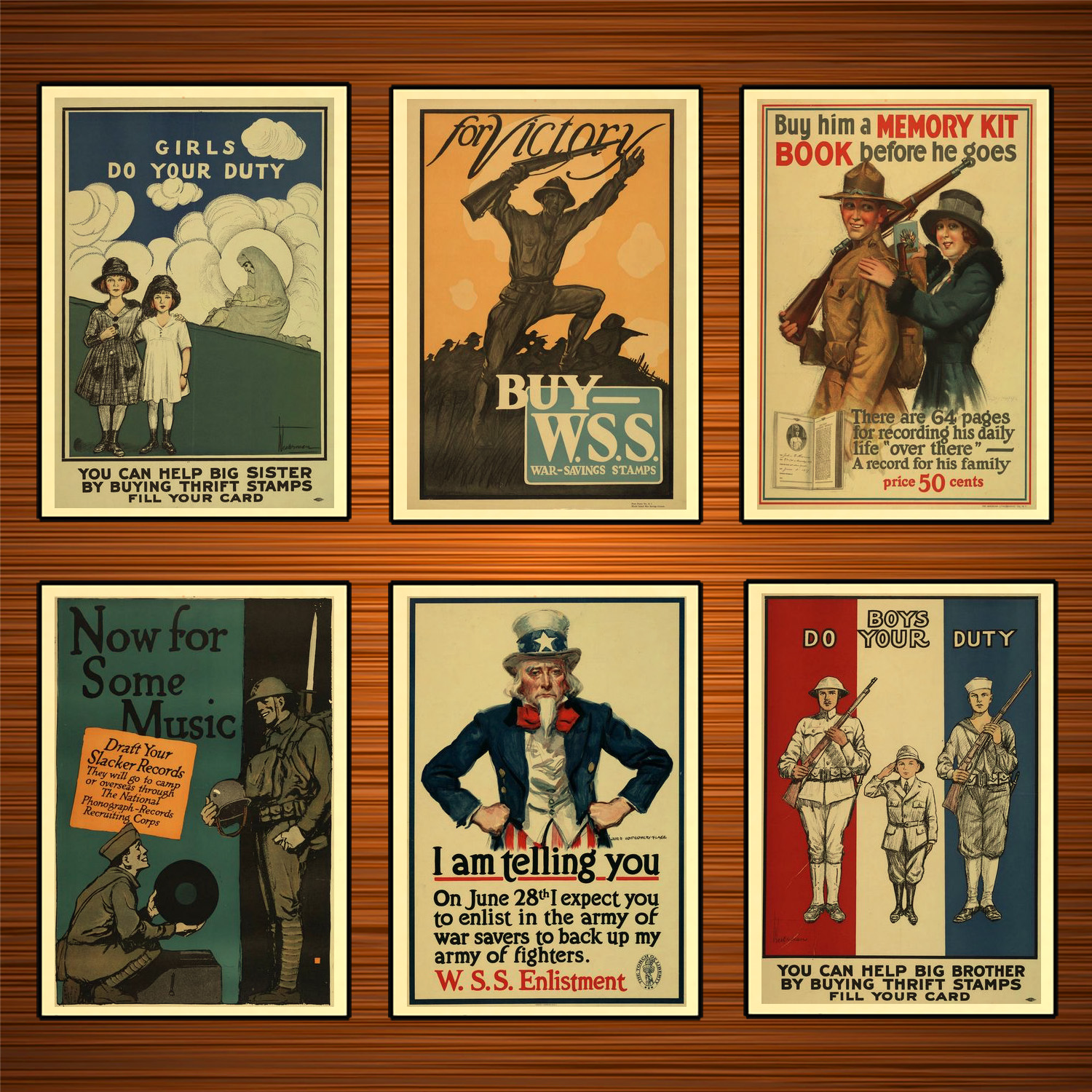Vintage 1900s USA WW1 Propaganda Poster Now for Some Music Classic Canvas Paintings Wall Stickers Home Decor Gift image