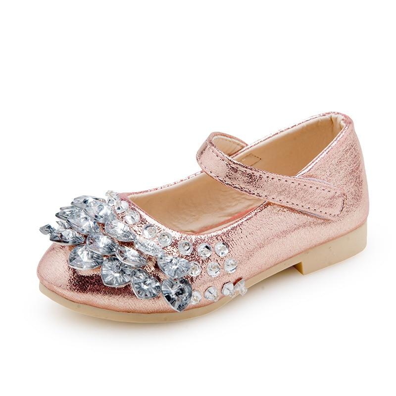 Мода осінь дівчата принцеси взуття стразами дитяче взуття PU шкіра танці діти одного взуття золото срібло рожевий
