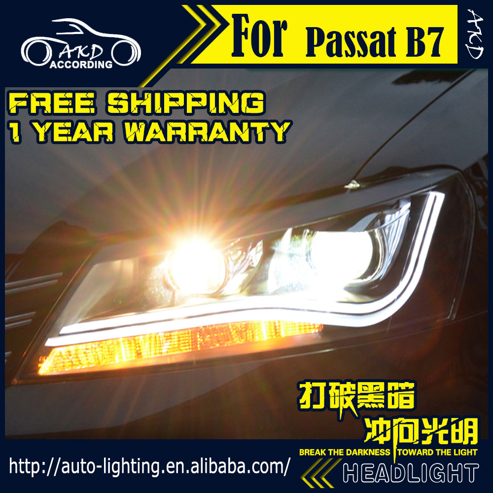 AKD Car Styling Headlights for VW Passat B7 LED Headlight US Version LED DRL 2012-2015 COB H7 D2H Hid Option Bi Xenon Beam akd car styling for nissan teana led headlights 2008 2012 altima led headlight led drl bi xenon lens high low beam parking