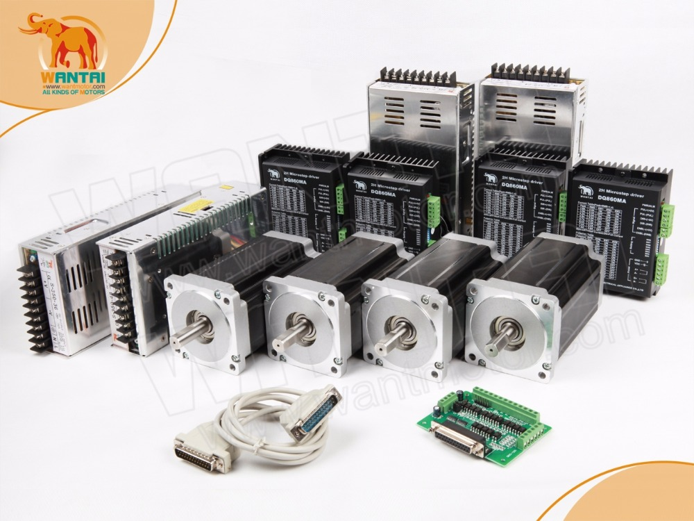 Best Selling! Wantai 4 Axis Nema 34 Stepper Motor Dual Shaft 85BYGH450C-012B 1600oz-in+Driver DQ860MA 80V 7.8A 256Micro CNC Cut [usa for free] wantai 5pcs stepper motor driver dq860ma 80v 7 8a 256micro cnc router mill cut engraving grind foam embroidery