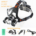 Boruit RJ-5000 3*L2 LED 12000LM Headlamp USB Power bank Rechargeable Headlight Lamp Light Flashlight Torch+Charger+18650 Battery