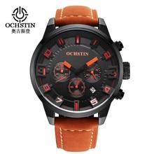2016 Nouvelle Montre Hommes Marque Ochstin Sport Hommes de Montres En Cuir Quartz Étanche Chronographe Heure Horloge Militaire Armée De Mode