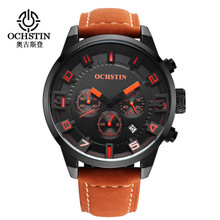 2016 New Watch Men Brand Ochstin Sport Men's Watches Leather Quartz Waterproof Chronograph Hour Clock Military Army Fashion