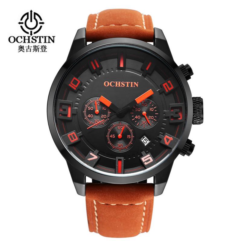Prix pour 2016 Nouvelle Montre Hommes Marque Ochstin Sport Hommes de Montres En Cuir Quartz Étanche Chronographe Heure Horloge Militaire Armée De Mode