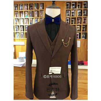 Custom men's solid color high-end suit two-piece suit (jacket + pants) men's business dress wedding groom groomsmen dress
