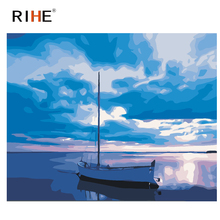 RIHE Quiet Sea Boat Diy Painting By Numbers Blue Sky Oil On Canvas Hand Painted Cuadros Decoracion Acrylic Paint 40X50