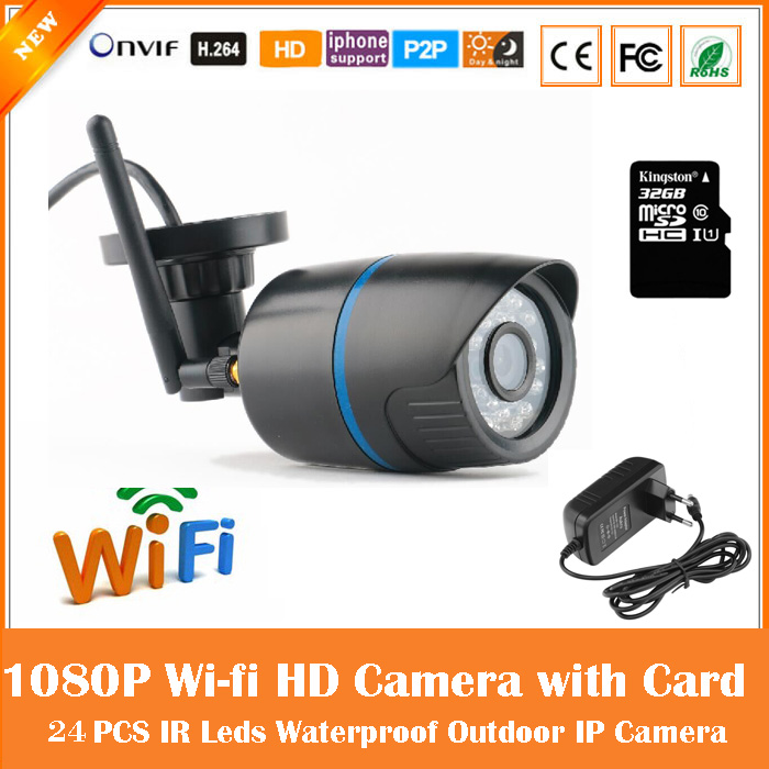Hd 1080p Bullet Ip Camera Wifi Motion Detection Outdoor Waterproof Mini Card Black Cctv Surveillance Security Freeshipping wistino cctv camera metal housing outdoor use waterproof bullet casing for ip camera hot sale white color cover case