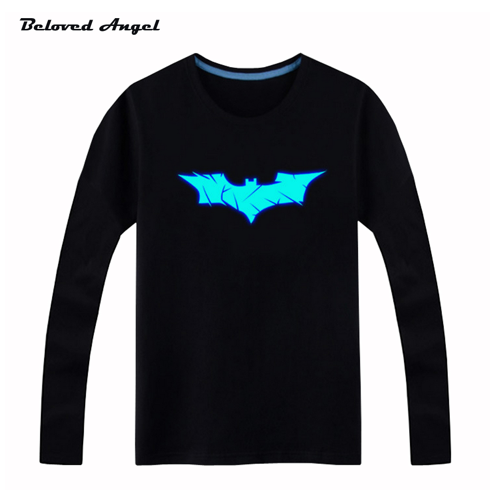 100cm-160cm Children boys girls luminous t shirt kids Long sleeves tops Hip Hop Neon Print Party Club Night light blu-ray