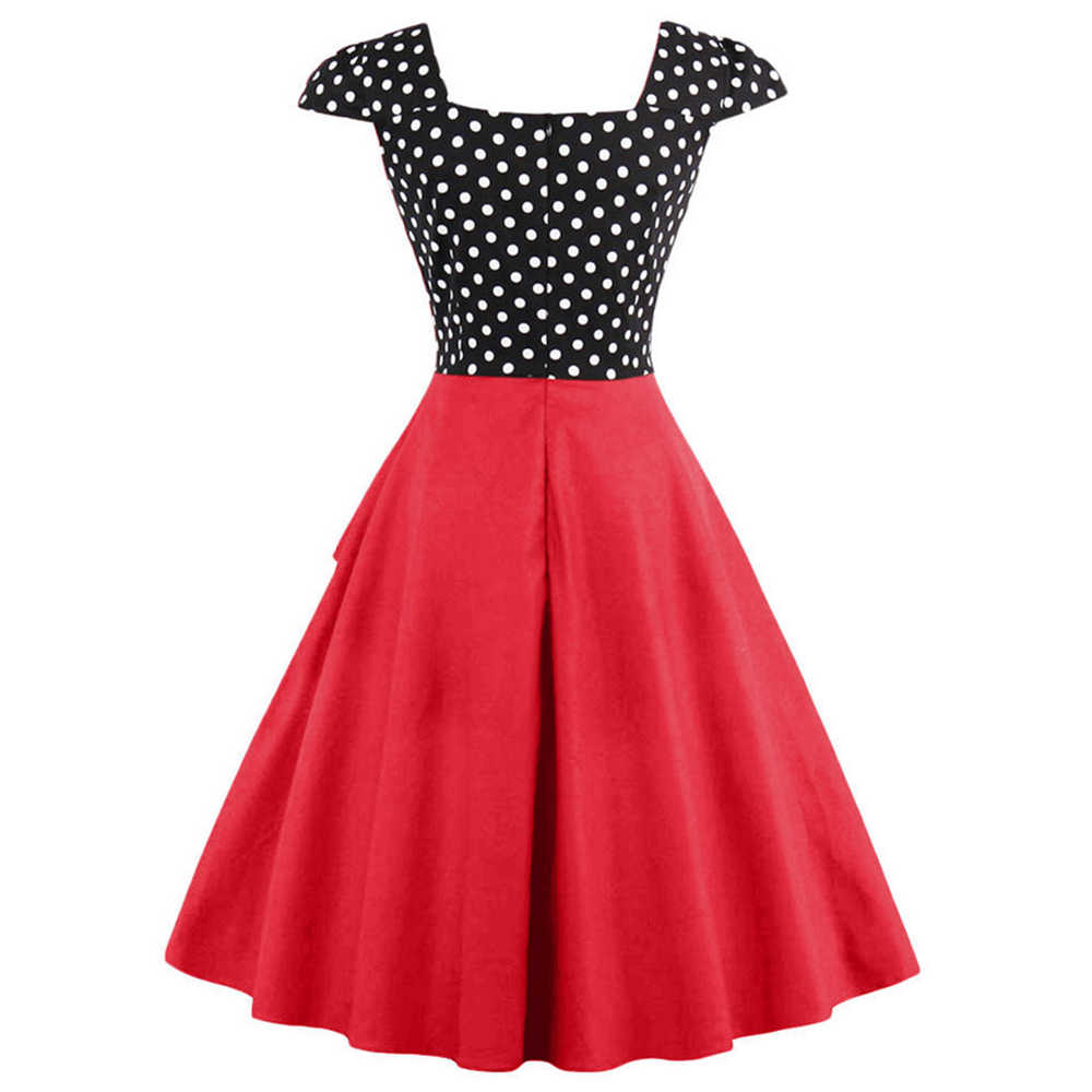 1e8d85354c9e2 Kenancy Plus Size 4XL Women Retro Dress 50s 60s Vintage Rockabilly Swing  Feminino Vestidos Polka Dot Print Cosplay Cotton Dress