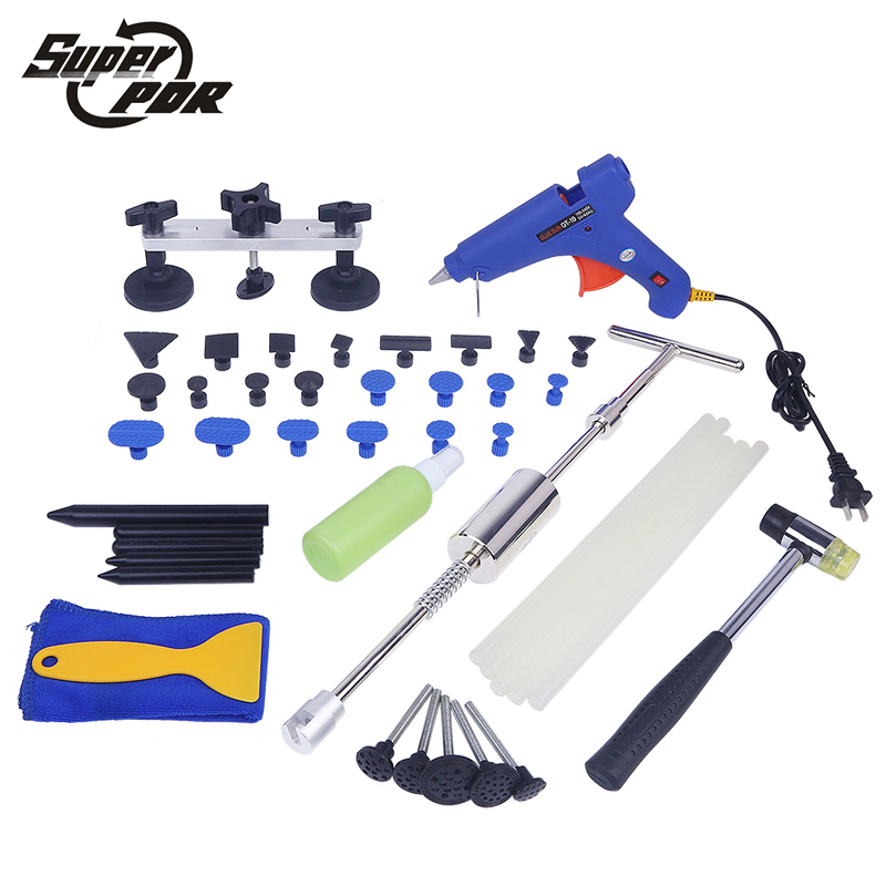 PDR tool kit Paintless dent repair tools set slide hammer dent lifter pulling bridge car body dent removal hand tools 147 pcs portable professional watch repair tool kit set solid hammer spring bar remover watchmaker tools watch adjustment