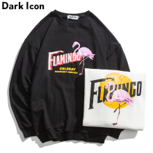 dark icon Crane Printed 2018 Autumn Terry Material Cotton Men's Sweatshirts