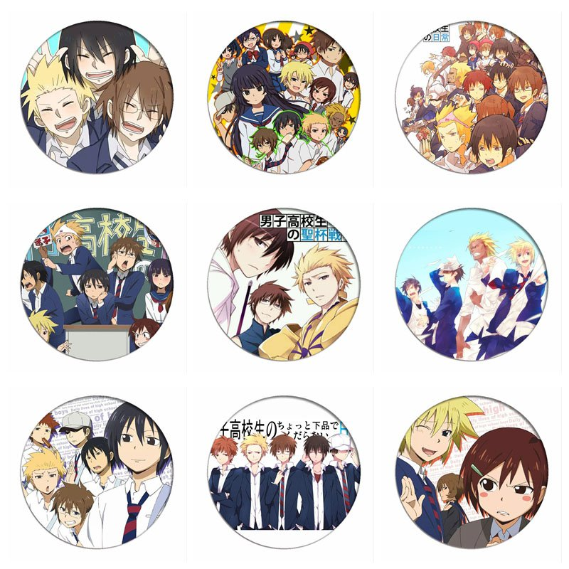 1pcs Daily Lives Of High School Boys Cosplay Badge Hideyoshi Tadakuni Brooch Pins Yoshitake Collection Badges For Backpacks