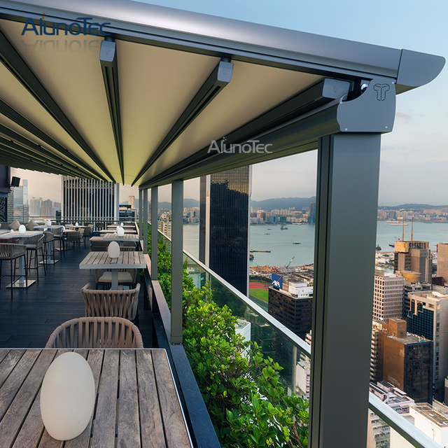 Waterproof Aluminium Pvc Pergola Retractable Roof For