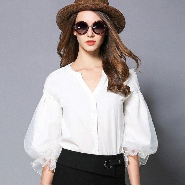 4a817484bf Camisa de manga de linterna de la Oficina de la señora 2018 de moda de nueve