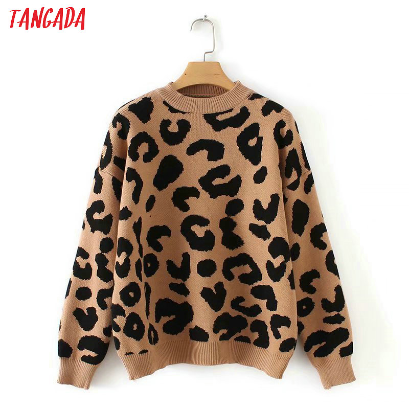 Tangada Sweater Winter Pullovers Tops Animal-Print Long-Sleeve Leopard Knitted Female