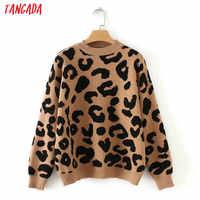 Tangada femmes léopard tricoté pull hiver animal imprimer hiver épais à manches longues femme pulls décontracté hauts 2X05