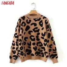 Tangada mujer leopardo suéter de punto de invierno gruesa de manga larga  Mujer jerseys tops casual 2X05 61af0a7aa101