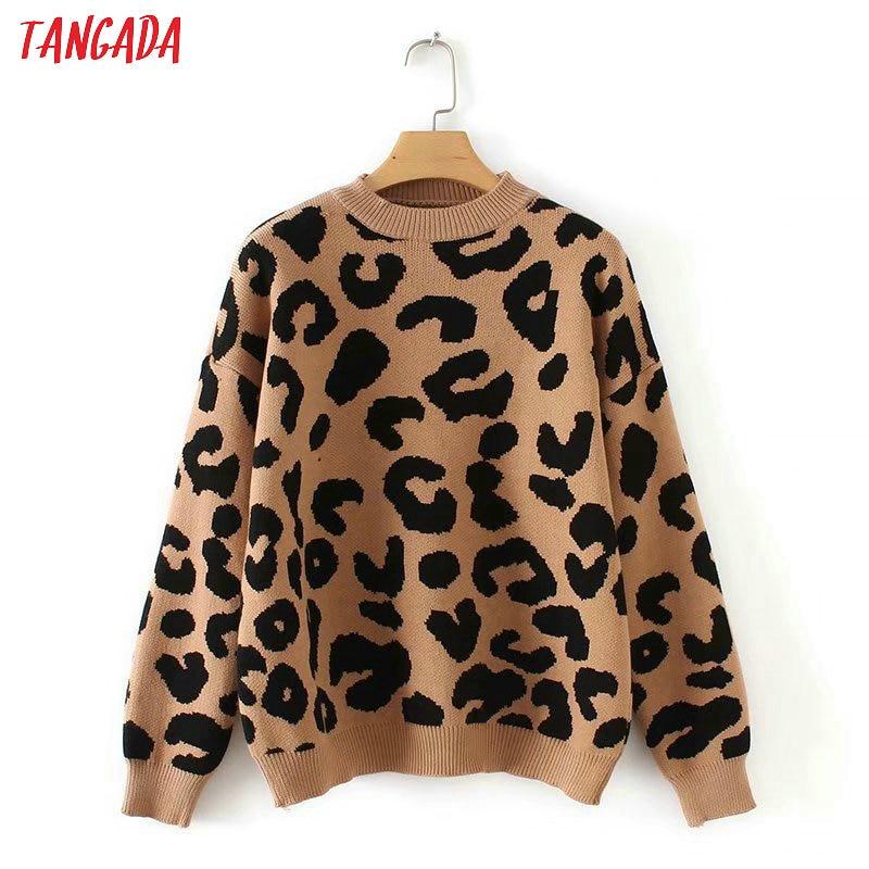Tangada леопардовый свитер теплый свитер зимний свитер свитер оверсайз свитер с леопардовым принтом свитер для зимы базовый свитер повседневный свитер теплый джемпер2X05