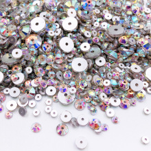 500Pcs Mix 3-8mm Sewing Crystal AB Rhinestones Applique Sew On Flatback Glass Beads Strass Stones For DIY Clothes Decoration