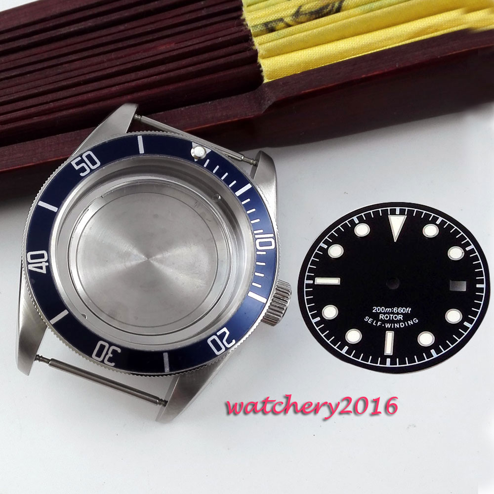 Newest Hot casual 41mm blue Bezel insert watch case sapphire glass Luminous Mark fit ETA 2824 2836 miyota movement Watch Case цена и фото