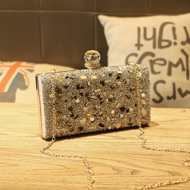 UKQLING Artificial Diamond +Metal Frame Women Bag Evening Party Clutch Purse Hand Bag Day Clutches for Lady Sac A Main