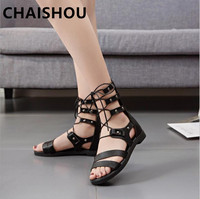 CHAISHOU shoes woman 2019 new high cross tie strappy boots female summer retro Roman sandals long tube sandals B 404