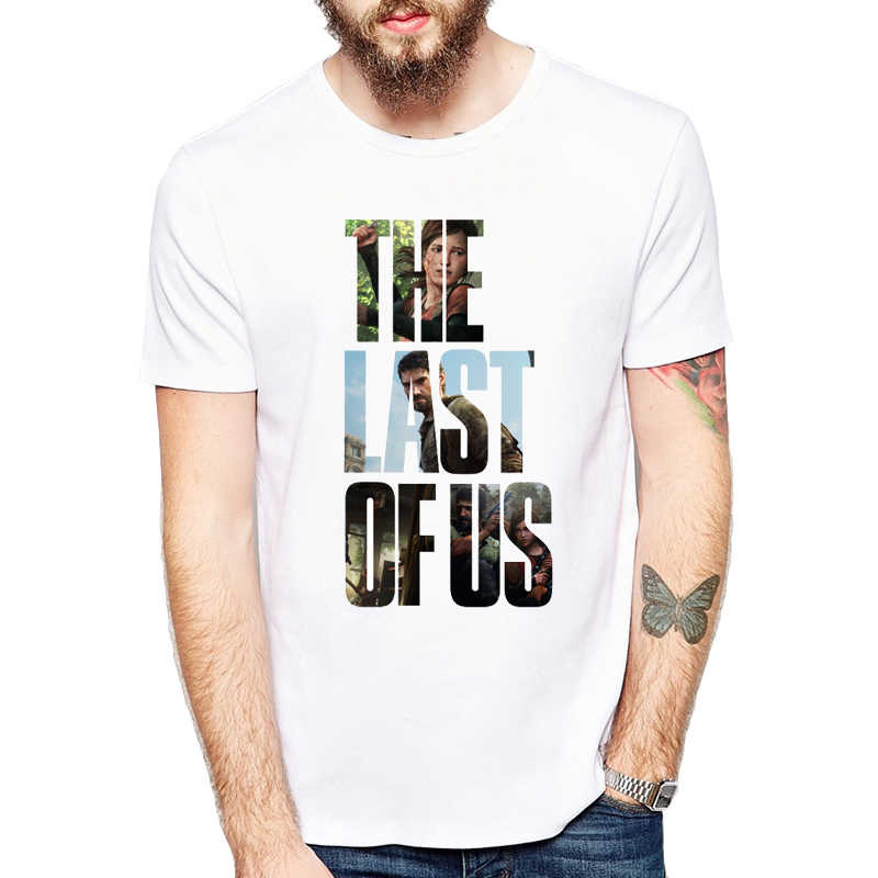 Nuevo personaje camiseta hombres el último de nosotros ocasional hombre  blanco camisetas cartas Tops Hipster ropa df98a21379581