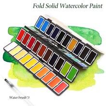 새로운 18/38/58 색상 접이식 단색 수채화 물감 세트 물 브러쉬 & 선물 상자 수채화 물감 그림 물감
