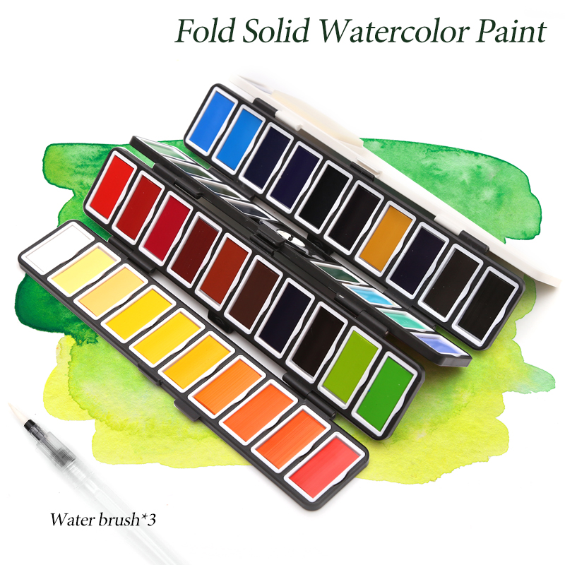 New 18/38/58Colors Fold Solid Watercolor Paint Set With Water Brush & Gifts Box Watercolor Pigment For painting Water colorsWater Color   -