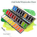 New 18/38/58Colors Fold Solid Watercolor Paint Set With Water Brush & Gifts Box Watercolor Pigment For painting Water colors