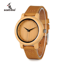 BOBO BIRD WA10 نساء ساعة خشب الخيزران ساعة حقيقية حلقة من جلد ساعة كوارتز كهدية للسيدات قبول OEM Relogio