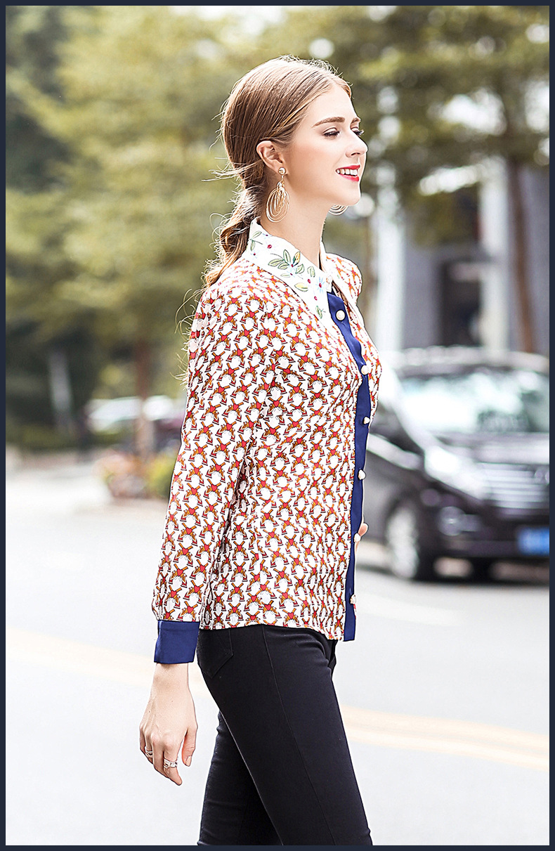 European and American new silk print shirt for spring and 2018 women's wear embroidered shirt - 2