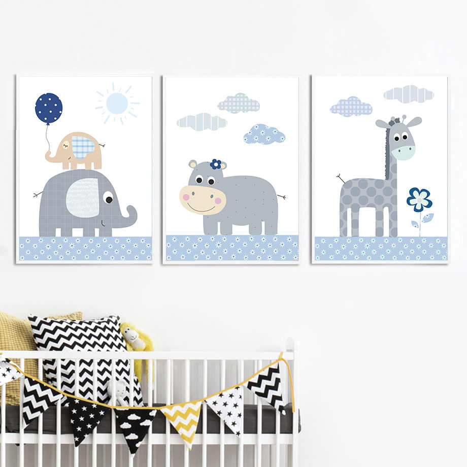 Giraffe Elephant Hippo Nordic Posters And Prints Wall Art Canvas Painting Animal Wall Pictures Kids Baby Room Scandinavian Decor