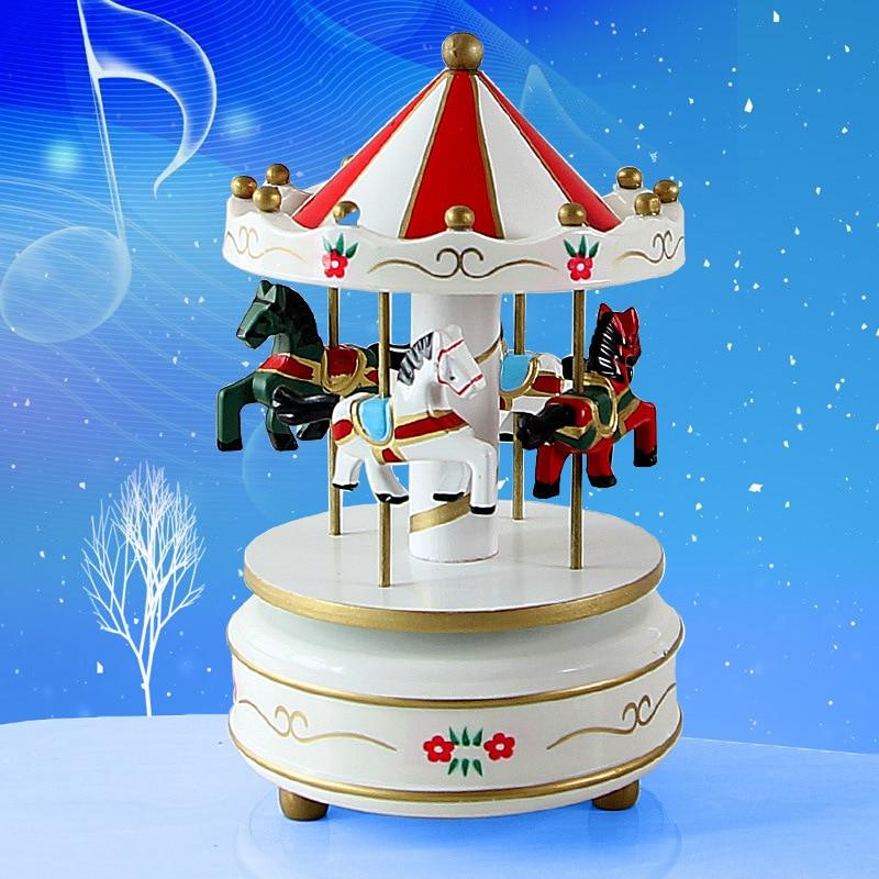 Mini boîte à musique boîte à musique de troie rotative en bois artisanat cadeau ornements ameublement boîte de troie carrousel Musical