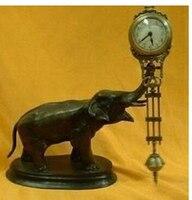 Art Bronze Decoration Crafts Brass 25cm Height old handwork Beautiful pendulum clock bronze elephant statue crafts tools