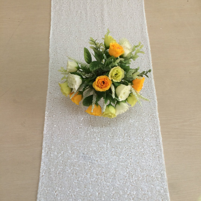 Shinybeauty White Sequin Table Runner 12x72in Whole Fabric Aisle For Wedding Party Decoration