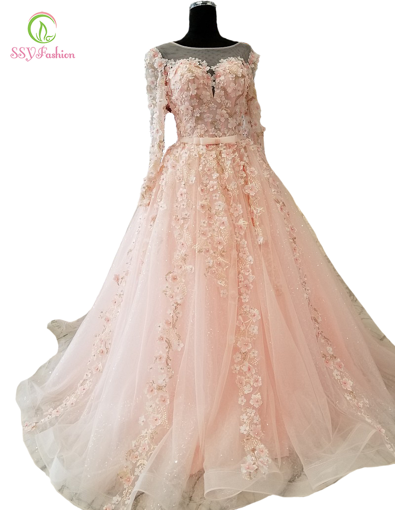 SSYFashion New High end Lace Flower Evening Dress Sweep Pink Long Sleeved Beading Appliques Floor length