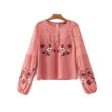 Blusas Direct Selling Polyester Casual Women Tops 2017 Summer New Back Crochet Stitching Flower Embroidery Sleeve Shirt Female
