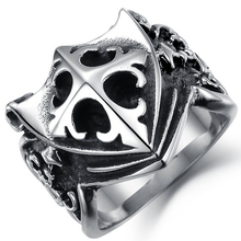 Cross Shield Biker Ring
