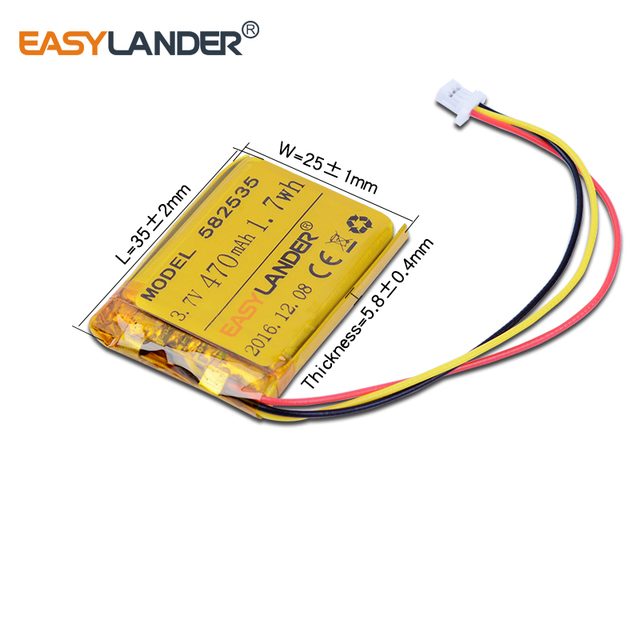 3.7V 470mAh Rechargeable li-Polymer Li-ion Battery For  MIO tachograph MODEL 582535 SP5 mp3  GPS PSP  papago