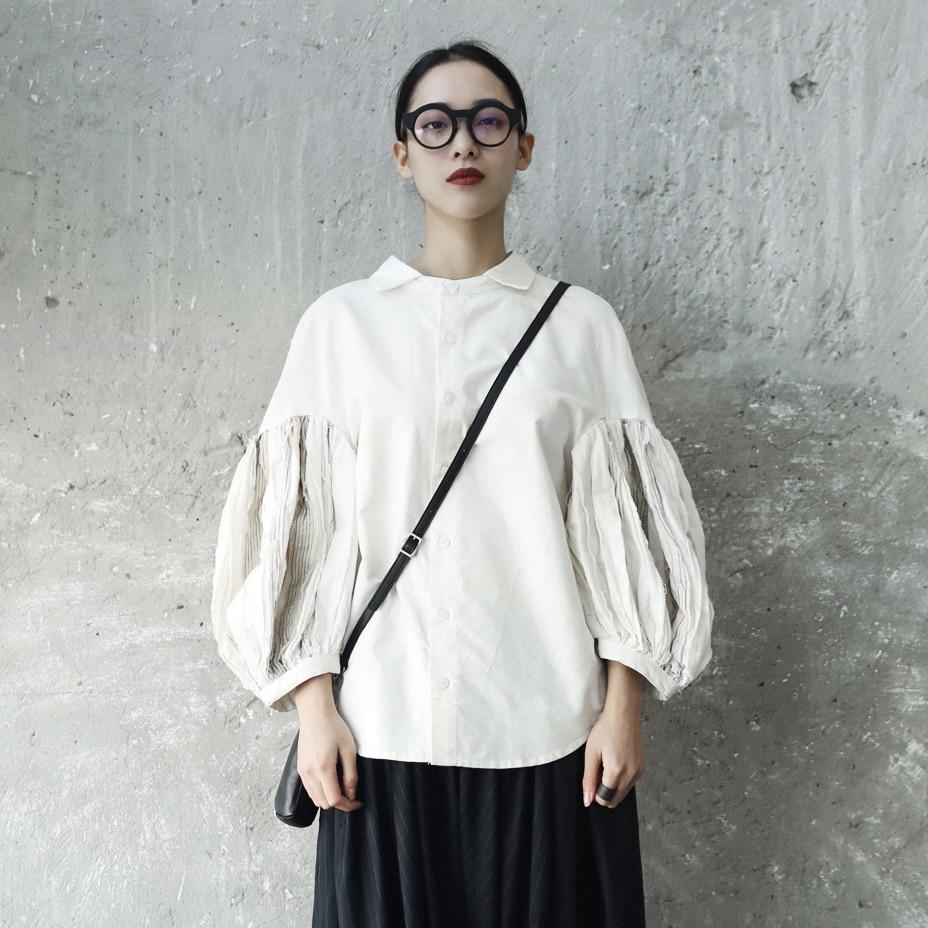 Japonais Revers Lâche Lanterne Cassé Blanc Bouton Chemises Femmes Street Bouffantes Tops Trou 1 Manches Chemise Wear Printemps Cardigan qnc81WwtWS