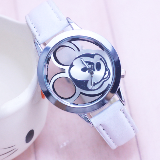 2018 Fashion Mickey Women Watches quartz casual transparent hollow dial leather