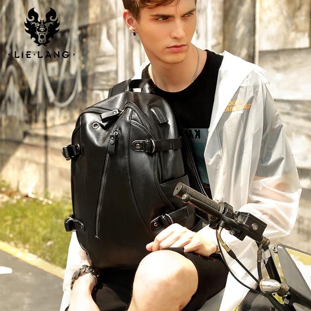 LIELANG Men Backpack External USB Charge Waterproof Backpack Fashion PU Leather Travel Bag Casual School Bag For Teenagers 5