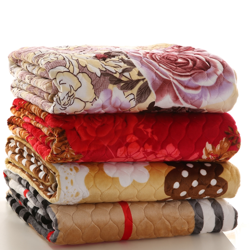 winter flannel fleece blanket anti-slip bed cover plush bed sheet printed quilted thickening blankets customized