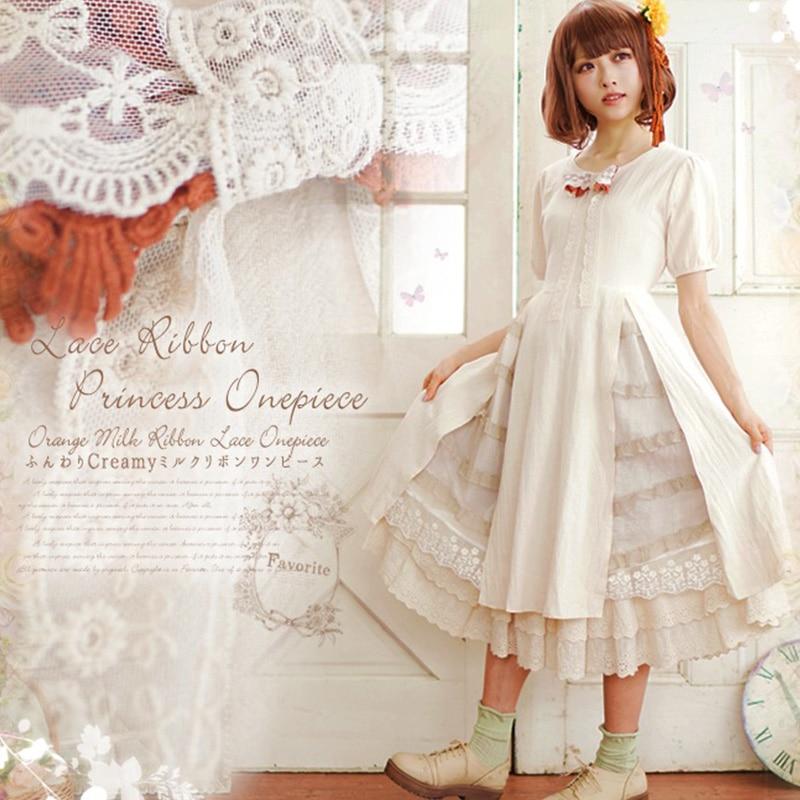Lolita Dentelle Cou Kawaii Manches Femelle O Princesse Robes Couture À Automne Color Femmes A207 Mori Robe Broderie 1 Arc De 2 Courtes Fille color 3AL5R4j