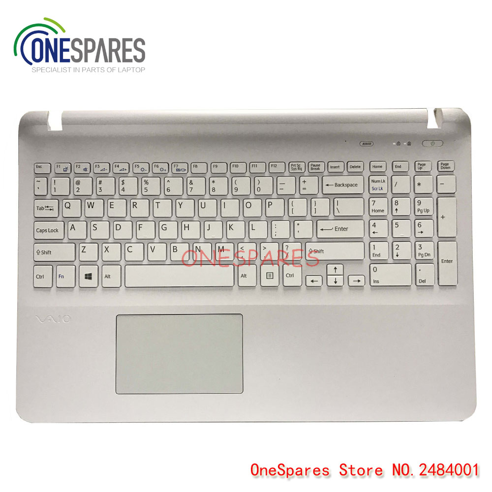 NEW Laptop For Sony SVF15 FIT15 SVF151 SVF152 SVF153 SVF1541 SVF15E US white keyboard with frame Palmrest Touchpad Cover free shipping new russia white laptop keyboard for msi wind u130 u135 u135dx u160 u160dx ru white frame laptop keyboard