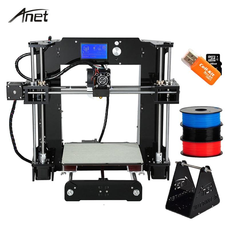 Анет A8 A6 3D-принтеры Высокая точность impresora 3D ЖК-дисплей Экран Алюминий очаг экструдер Принтеры DIY Kit PLA нити 8 г sd карты