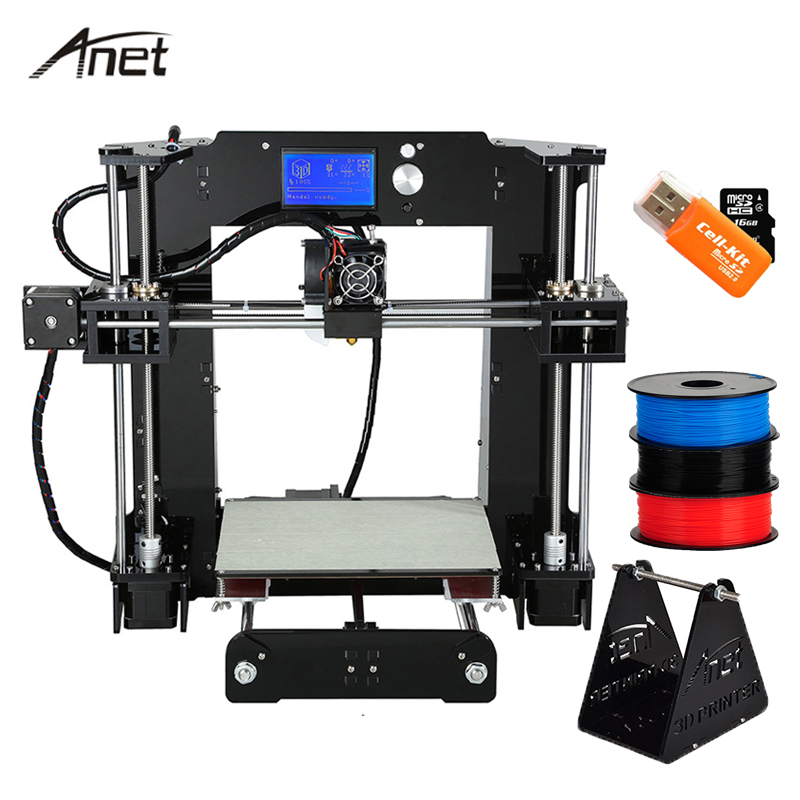 Anet A8 A6 3D Printer High Precision Impresora 3D LCD Screen Aluminum Hotbed  Extruder Printers DIY Kit PLA Filament 8G SD Card double color m6 3d printer 2017 high quality dual extruder full metal printers 3d with free pla filaments 1set gift