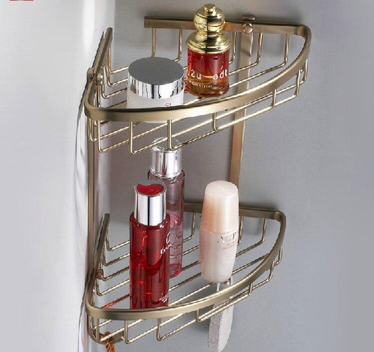 Antique Aluminum Bathroom Kitchen Corner Shelf Rack Storage Basket ...